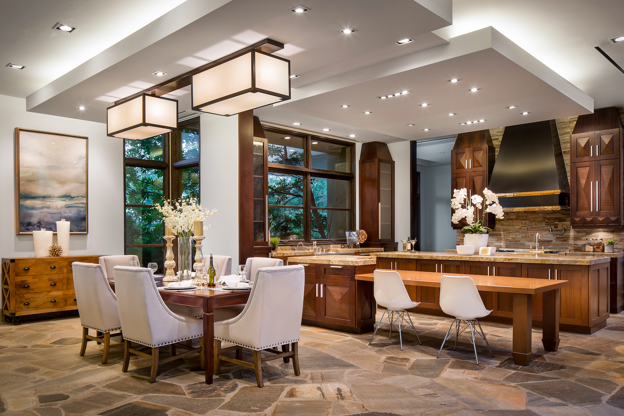 Custom Home and Pool House at The Ridges Kitchen and Dining Area