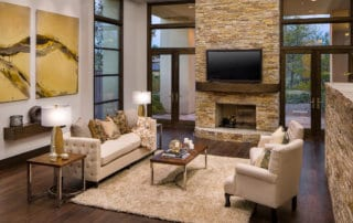 Custom Home and Pool House at The Ridges Sunken Living Room and Fireplace