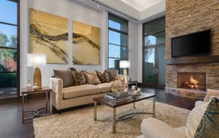 Custom Home and Pool House at The Ridges Living Room with Fireplace